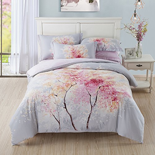 Furniture Collection Euro Upholstered Headboard (TheFit Paisley Textile Bedding for Adult U1098 Art Chill Nature Tree Duvet Cover Set 100% Sanding Cotton, Queen King Set, 4 Pieces)