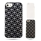 Cell Armor  Hybrid Fit-On Jelly Case for iPhone 5 - Retail Packaging - Trans. Black/White Signs in Squares