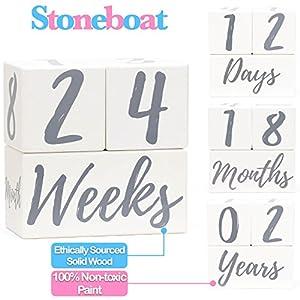 Stoneboat Baby Milestone Blocks | Baby Age Blocks for Monthly...