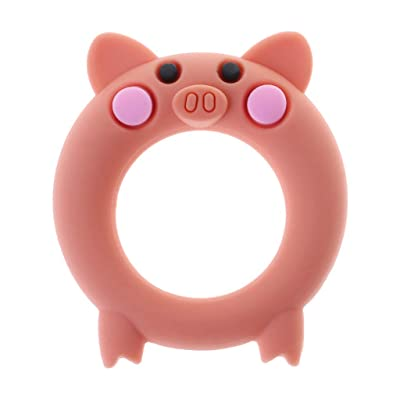Ladaidra Baby Teether Food Grade Silicone Cartoon Pig Teething Oral Care Newborn Pacifier Soother Chew Toys DIY Necklace Pain Relief Massage Teeth Bracelet Ring Soft Elastic: Toys & Games