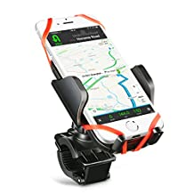 Bike Phone Mount Bicycle Holder, Mpow Universal Phone Cradle with 360 Degrees Rotatable, Rubber Strap, Slide-Proof Clamp, One-button Released for iPhone 7 7 Plus 6 6s Plus Galaxy S7 S6 Edge and GPS Device Up to 5.7 Inches