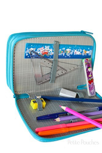 Stationary Kit School Supplies for Girls, Colored Pencil Bundle Organizer & Holder, Back to School Kit, Pretty Paris Theme, Compartments, Large Storage for Pens, Pencil Case, Sharpeners (Kit Pouch School)