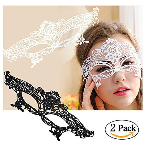 Women's Laser Cut Metal Venetian Pretty Masquerade Mask (2pcs Black and White (Cheap White Mask)