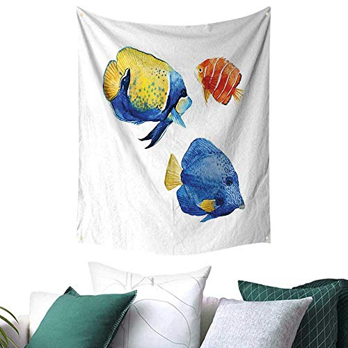 Fish Tapestry for Bedroom Tropical Aquarium Life Discus Fish and Goldfish in Different Patterns Festival Flags 54W x 84L INCH Azure Blue Yellow Scarlet