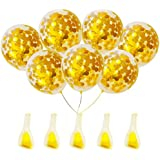 20 pcs Gold Confetti Balloons | 12 inch Gorgeous Looking See Through Party Decorations | Overflowing with Foil Conffetti for your Fabulous Party
