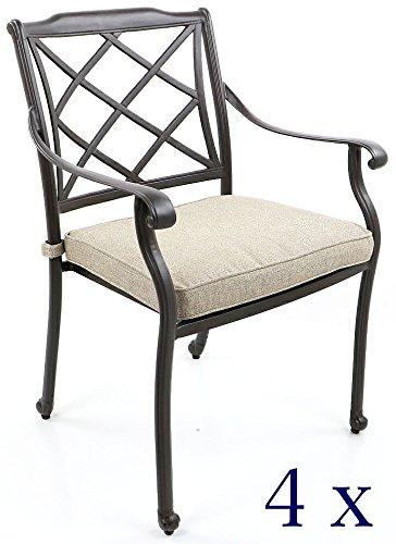 4 Gartenstühle, Aluguss - Rückenlehne Flecht-Design (4er-Set)