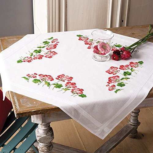 Vervaco Geranium Table Topper Stamped Embroidery Kit ()