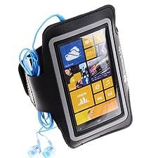 SumacLife Adjustable Neoprene Workout Armband Case for Nokia Lumia Smartphones , Lumia 1020 , lumia 920 (Black)