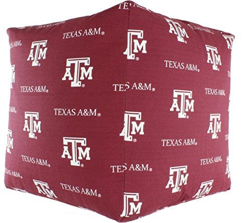 A&m Texas Aggies Water (College Covers TAMCUC Texas A&M Aggies Cube Cushion Ottoman, Maroon)