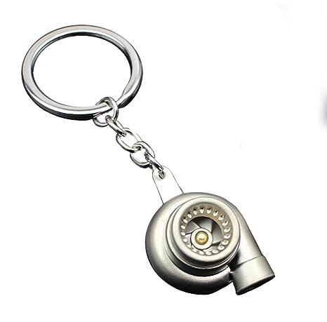 Coche Turbo Silbar Soplador Keychain Llavero para hombres Mujer, Giratorio