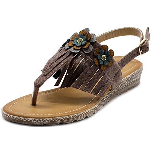 - Ollio Womens Shoe Fringe Floral T-Strap Zori Flat Sandal BN07(10 B(M) US, Purple)