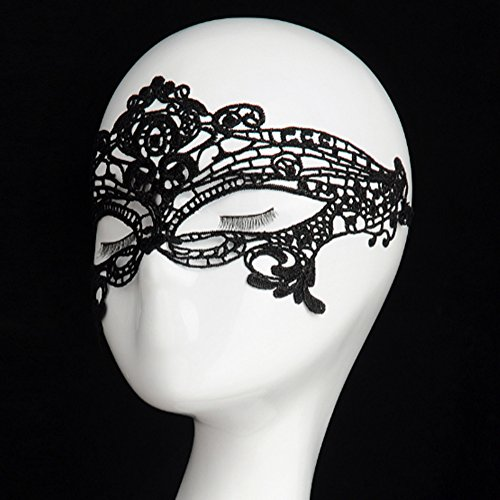 Venetian Lace Mask Lace Mask Lace Face Mask Girls Women Sexy Ball Lace Mask Catwoman Masquerade Dancing Party Eye Mask Cat Halloween Fancy Dress Costume (Black) by Generic