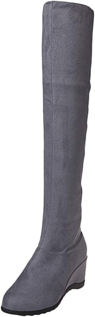Botas Mujer Tacon Altas de Otoño Invierno Antideslizante Diseño de Retro Casuales Zapatos de hasta la Rodilla Calzado Outdoor Cuña Plataforma 7cm Fannyfuny