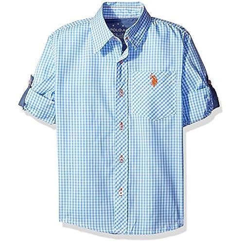 U.S. Polo Assn. Big Boys\u0027 Long Sleeve Single Pocket Sport Shirt, Blue Coast  Plaid, 18