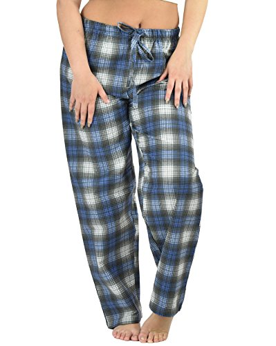 Up2date Fashion's Women Cotton Flannel Pajama Pants/Sleep Pants (Large, Blue Plaid)