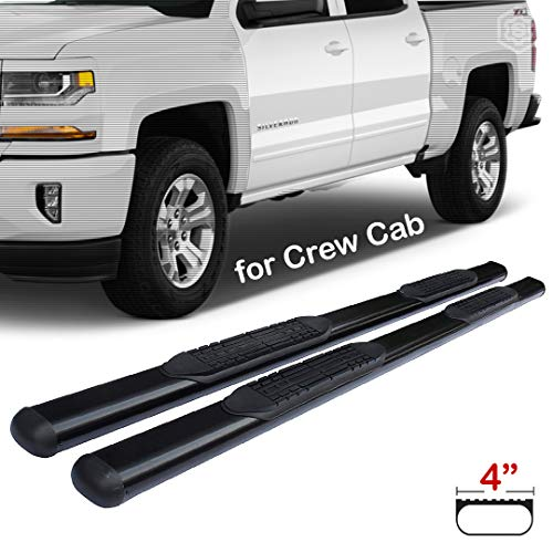 Span 4-inch Black Oval Side Step Rails Nerf Bar Running Boards for 2007-2018 Chevrolet Silverado GMC Sierra 1500-2500-3500 Crew Cab