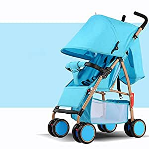 Baby's Folding Pushchairs Summer Outdoor Lightweight Portable Strollers Damping Four Wheel Prams for 0-36 Months , Blue