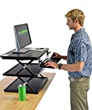 CHANGEdesk2 - NEW DESIGN - Tall Ergonomic Laptop & Desktop Standing Desk Conversion + Height Adjustable Keyboard Tray. Easy Sit to Stand Up Computer Riser Table (Black)