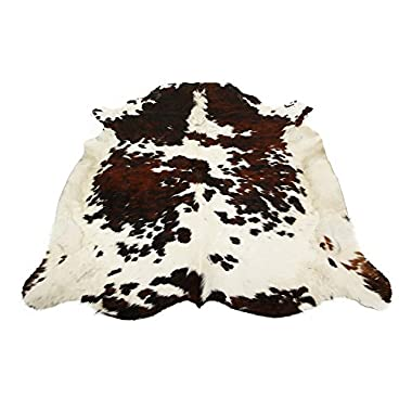 Tricolor Brazilian Cowhide Rug Cow Hide Skin Leather Area Rug: LARGE