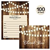 SET of Rustic Bridal Shower Invitations & Thank You Cards with Envelopes ( 100 of each ) Shabby Chic Fill In Wedding Party Invites Excellent Value Thank You Notes VS0007J