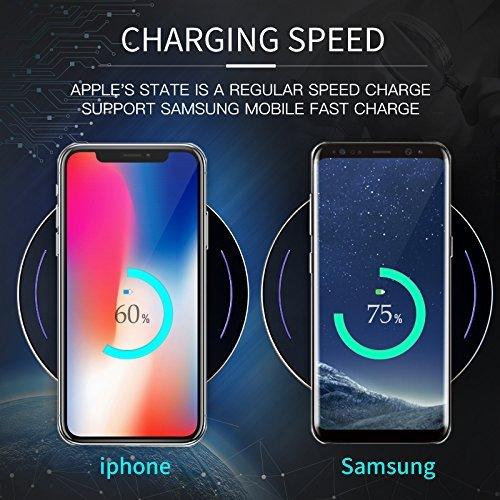 Wireless Charger, Qi Wireless Charging Pad for iPhone X/iPhone 8/8 Plus, Fast-Charging for the Samsung Galaxy S9/S9 Plus/S8/Note 8/S7/S7 Edge,5W for All Qi enabled Phones(No AC Adapte)