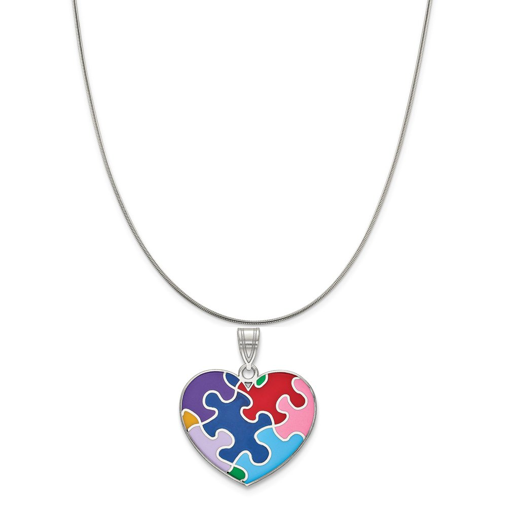 Sterling Silver Plated Finish Enameled Autism Heart Pendant on a Sterling Silver Cable Snake or Ball Chain Necklace