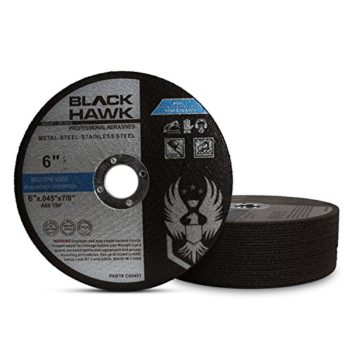 25 Pack Black Hawk 6'' x .045 x 7/8'' Arbor Metal & Stainless Steel Cut Off Wheels - Ultra Thin Discs