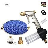 Telescopic water pipe Garden hoses Scalable 3 times TPE hose Portable Household Tools water gun high pressure Gun head Suitable for car washing watering Solid brass fittings Zinc alloy , C