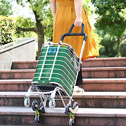 Folding Shopping Cart Portable Grocery Utility Lightweight Stair Climbing Cart with Rolling Swivel Wheels and Removable Waterproof Canvas Removable Bag Green