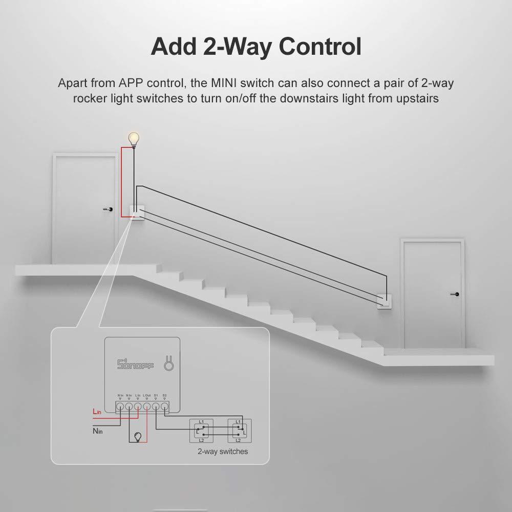 Google Home Universelles DIY-Modul f/ür Automatisierungsl/ösungen in der intelligenten Haustechnik funktioniert mit  Alexa SONOFF MINI Intelligenter kabelloser WLAN Lichtschalter