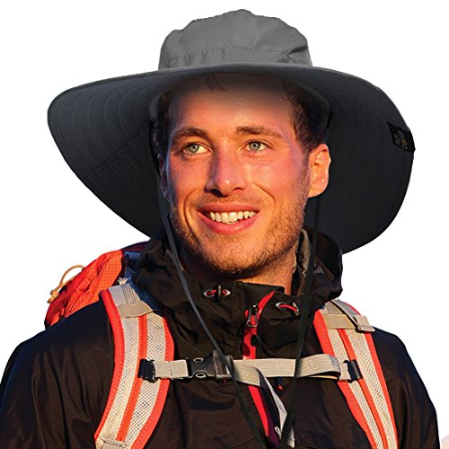 Sun Blocker Unisex Wide Brim Safari Outdoor Camping Hiking Fishing Hunting Boating Sun Cap Bucket Mesh Hat with Adjustable Drawstring, Grey