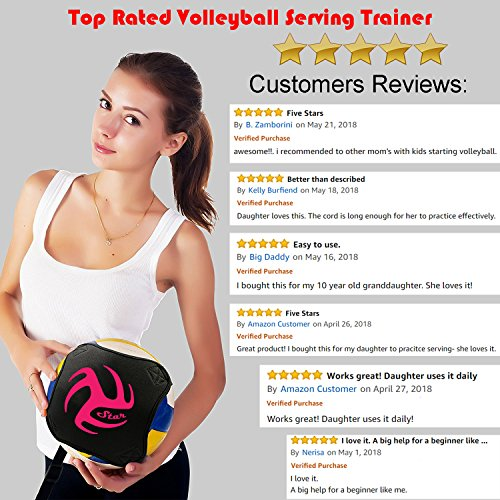 Volleyball Training Equipment Aid – Practice Your Serving, Setting & Spiking with Ease, Great Solo Serve & Spike Trainer…
