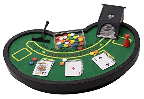 デスクトップミニチュアブラックジャックテーブルSet with MiniカードDeck Poker Chipsアクセサリー–テーブルトップVegasカジノギャンブルゲームforメンズレディース–Play Fun atホームオフィスデスクトップAnywhere by Perfect Lifeアイデア