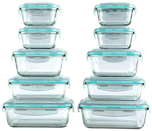 [20 Piece] Glass Food Storage Containers Set with Snap Lock Lids – Safe for Microwave, Oven, Dishwasher, Freezer – BPA Free – Airtight & Leakproof – The Super Cheap