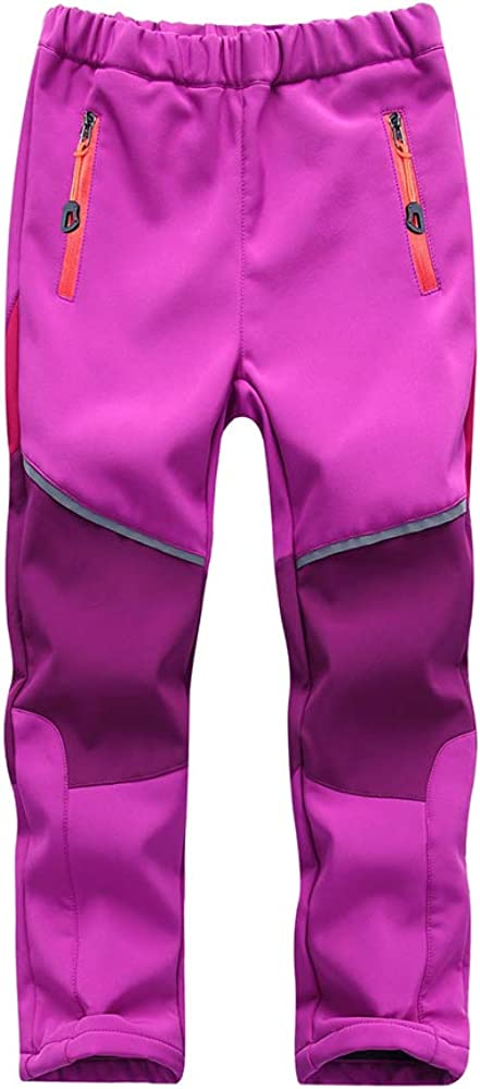 Toomett Boys Girls Kids Outdoor Fleece-Lined Soft Shell Hiking Fishing ski Pants Insulated Water and Wind-Resistant,1510