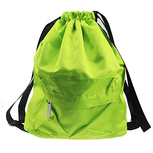 Waterproof Drawstring Bag,Lightweight Sports Backpack for Swimming,Gym,Beach,Camping (Green)