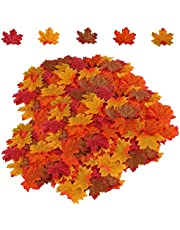 HENMI Fall Garland Maple Leaf Artificial Flowers Decorative Garlands Mixed Color Maple Leaf For Halloween, Thanksgiving Day, Wedding And Party Decorations-500 Pieces