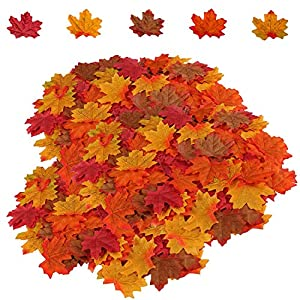 HENMI 500PCS Artificial Maple Leaves 5 Assorted Mixed Fake Fall Maple Leaf Lifelike Looking Silk Autumn Fall Leaf Garland for Thanksgiving Fall Themed Weeding Party Festival Table Decorations 115