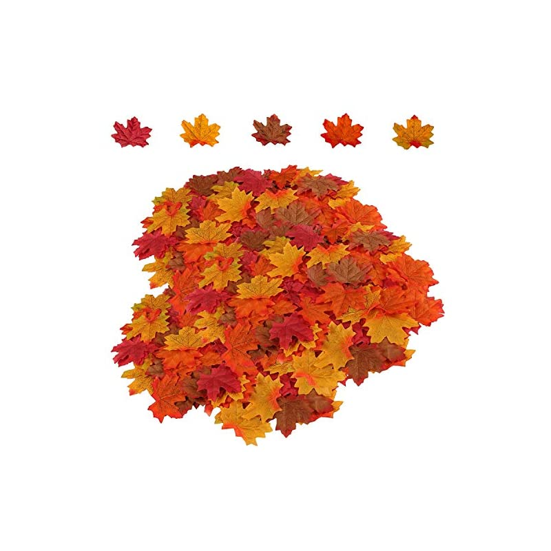 silk flower arrangements 500pcs artificial maple leaves 5 assorted mixed fake fall maple leaf lifelike looking silk autumn leaf garland for halloween fall decor party festival thanksgiving table decorations-henmi
