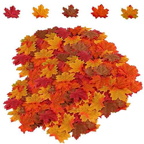 HENMI 500PCS Artificial Maple Leaves 5 Assorted Mixed Fake Fall Maple Leaf Lifelike Looking Silk Autumn Fall Leaf Garland for Thanksgiving Fall Themed Weeding Party Festival Table Decorations -