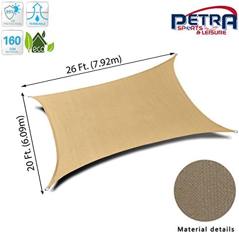 Petra s 26 Ft. X 20 Ft. Rectangle Sun Sail Shade. Durable Woven Outdoor Patio Fabric w Up to 90 UV Protection. 26×20 Foot. Desert Sand