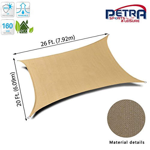 Shade Rectangle Sail - Petra's 26 Ft. X 20 Ft. Rectangle Sun Sail Shade. Durable Woven Outdoor Patio Fabric w/Up to 90% UV Protection. 26x20 Foot. (Desert Sand)