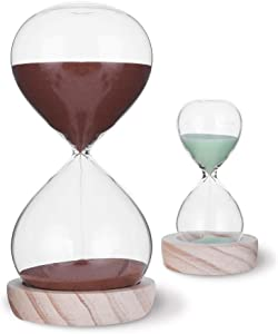 VISEMAN Hourglass Sand Timer Set-60 Minute & 5 Minute Timer Sets -Sand Clock Timers for Room Kitchen Office Decor -Time Management Tool with Wooden Base Stand