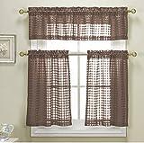 Duck River Textiles CLKCO=12/1712 Check Faux Linen Kitchen Curtain, Brown For Sale