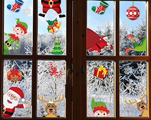 90shine 62PCS Christmas Window Clings Snowflake Decorations - Winter Wonderland