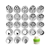 23pcs Russian Tips + 1pc Coupler- Russian Icing Piping Nozzles Cake Decoration Tips Home Baking DIY Tool Tulip Rose Nozzle Tip