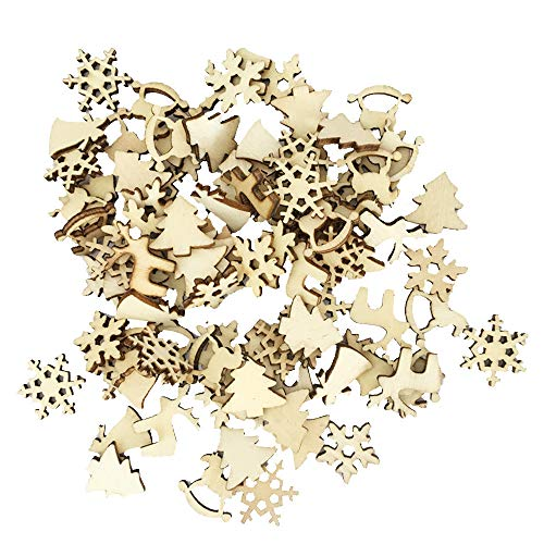 Euone  Christmas, 60 Pcs DIY Craft Christmas Xmas Wood Chip Hanging Ornaments Decor
