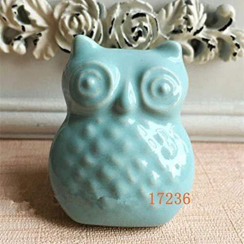 (Kasuki Mediterranean relief ceramic handle owl totem animal cartoon creative children's room drawer cabinet door Furniture Handle - (Color: Silver))