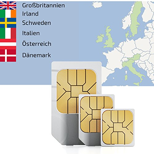 2GB Europe 1 DATA sim card for use in 7 European countries valid for 30 days rechargeable