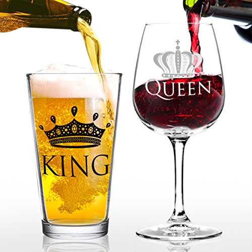 King Beer Queen Wine Glass Gift Set- Cool Present Idea for Bridal Shower, Wedding, Engagement, Anniversary, Newlyweds, and Couples- Dad, Him, Her, Mr. Mrs. - Gift for Mom (Set of 2) (Beer Lovers Gift Basket)